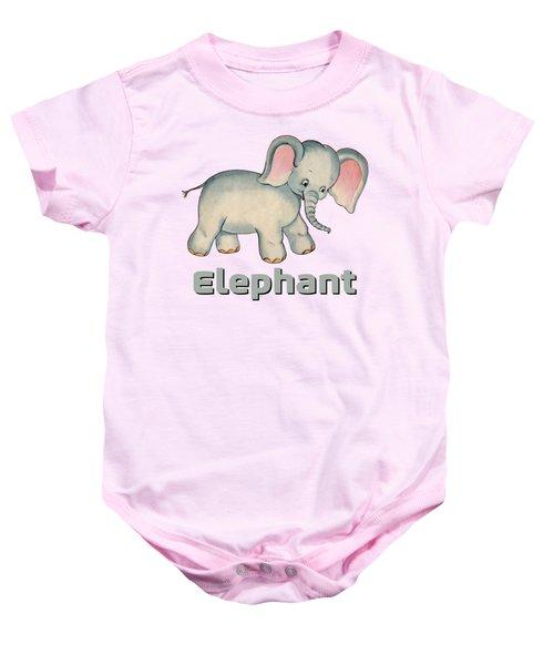 Cute Baby Elephant Pattern Vintage Illustration For Children Baby Onesie