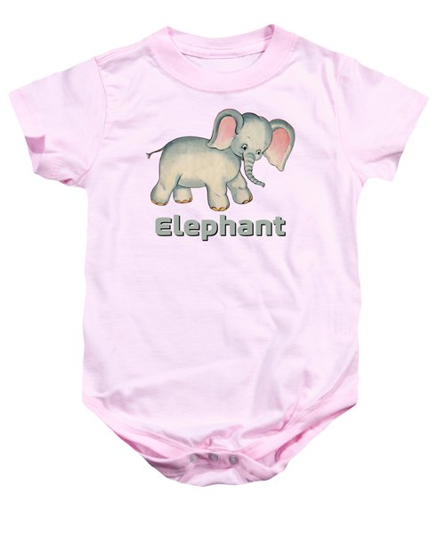 Cute Baby Elephant Pattern Vintage Illustration For Children Baby Onesie