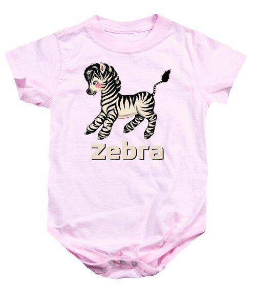 Cute Baby Zebra Pattern Vintage Book Illustration Pattern Baby Onesie