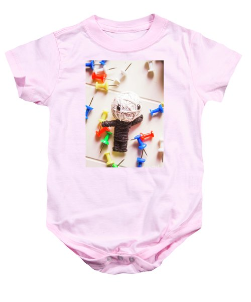 Cute Doll Made From Yarn Surrounded By Pins Baby Onesie
