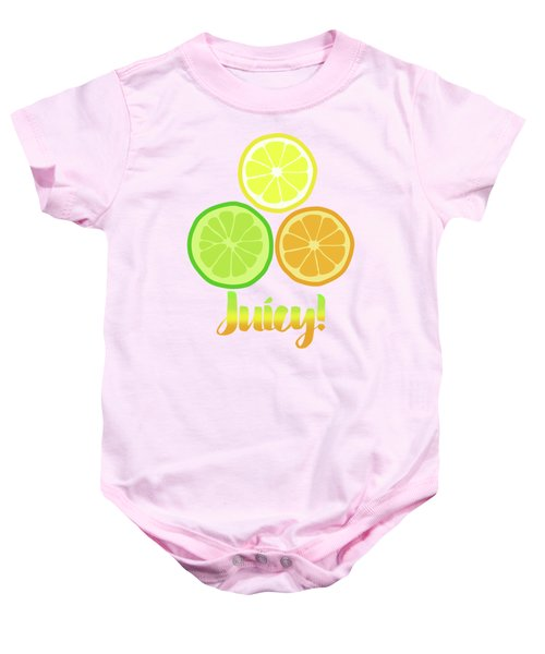 Cute Juicy Orange Lime Lemon Citrus Fun Art Baby Onesie