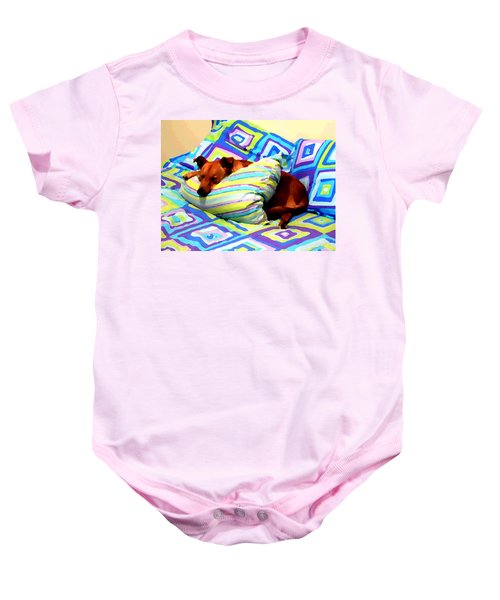 Dog Nap - Oil Effect Baby Onesie
