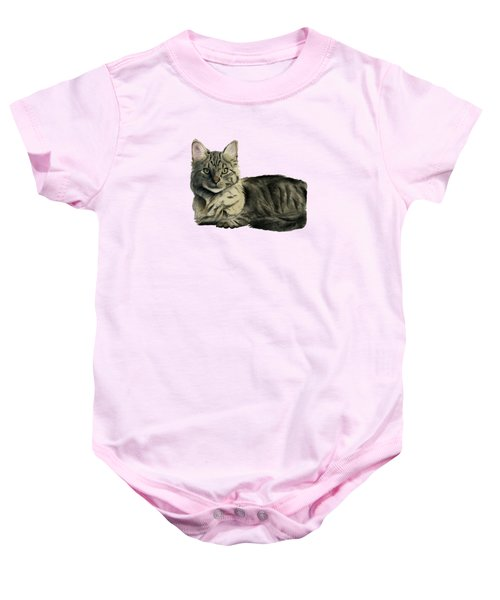 Domestic Medium Hair Cat Watercolor Painting Baby Onesie