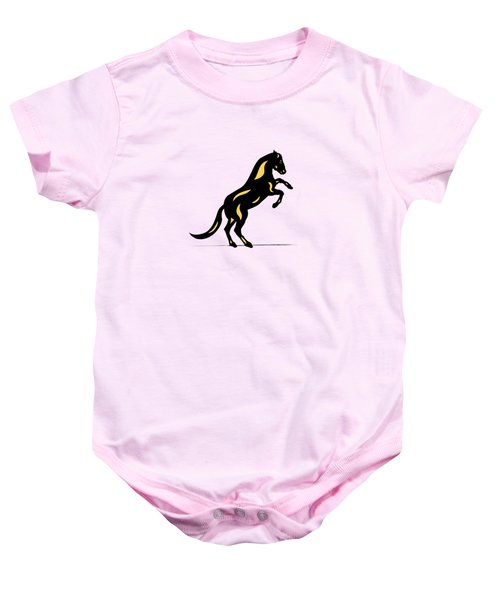Emma II - Pop Art Horse - Black, Primrose Yellow, Pink Baby Onesie