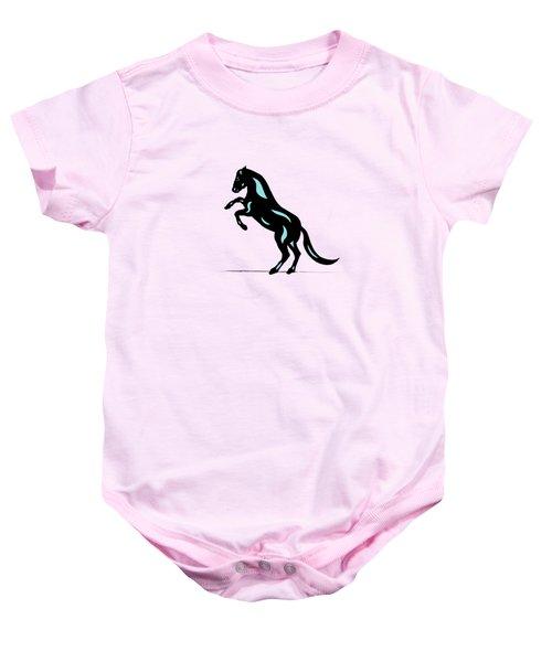Emma - Pop Art Horse - Black, Island Paradise Blue, Pink Baby Onesie