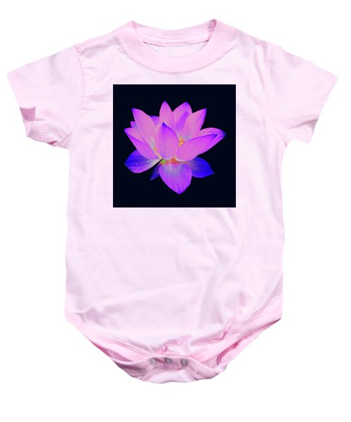 Baby Onesie featuring the painting Evening Purple Lotus  by David Dehner