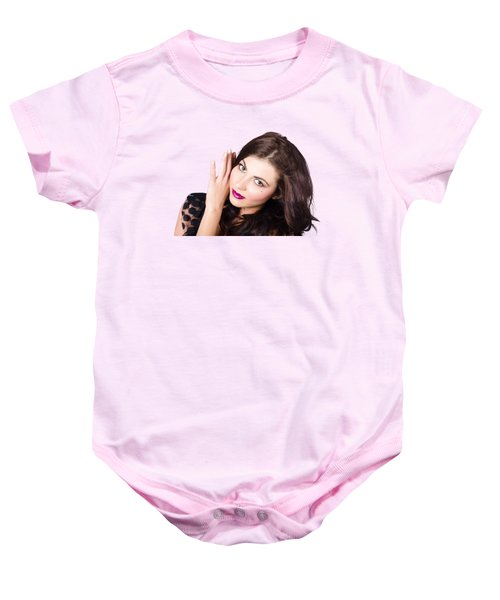 Baby Onesie featuring the photograph Face Of A Beautiful Woman. Perfect Beauty Makeup by Jorgo Photography - Wall Art Gallery