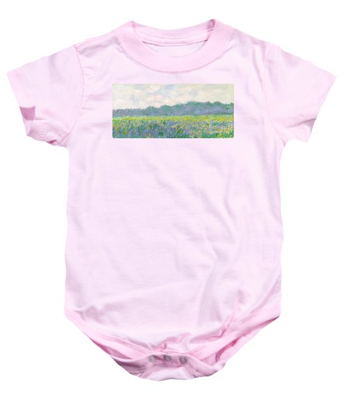 Field Of Yellow Irises At Giverny Baby Onesie