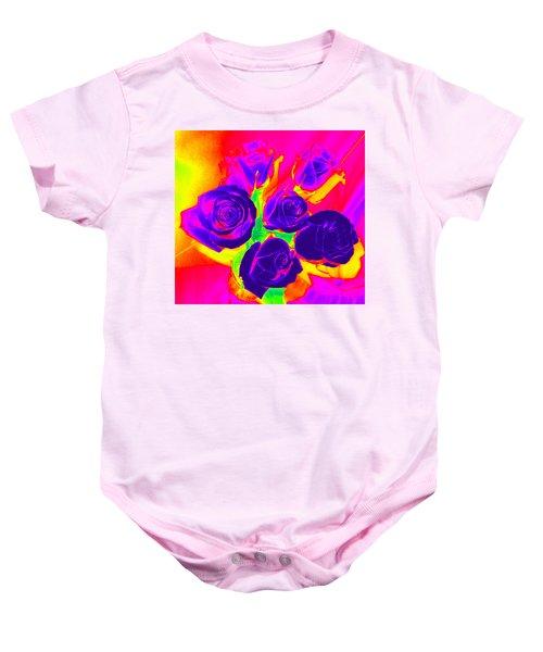 Fluorescent Roses Baby Onesie