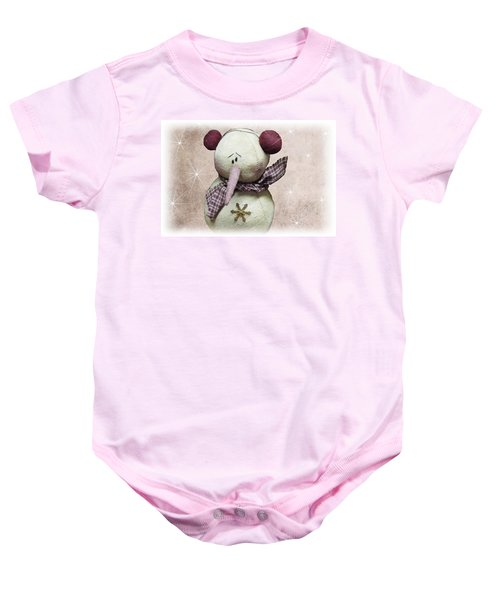 Baby Onesie featuring the photograph Fuzzy The Snowman by David Dehner