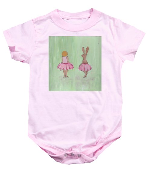 Girl And Bunny In Pink Tutus Baby Onesie