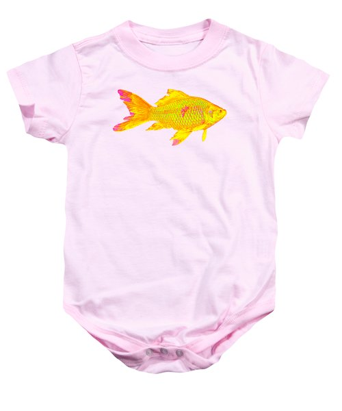 Gold Fish On Striped Background Baby Onesie