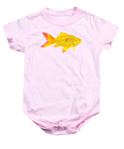 Gold Fish On Striped Background Baby Onesie