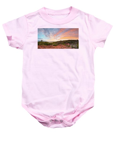 Granite Hills Of Inks Lake State Park Against Fiery Sunset - Burnet County Texas Hill Country Baby Onesie