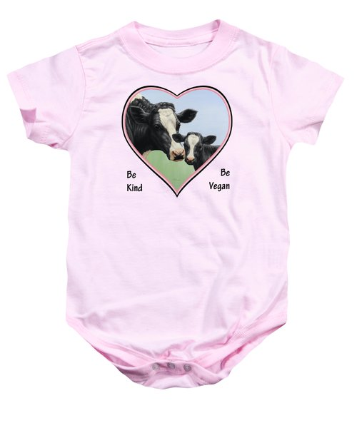 Holstein Cow And Calf Pink Heart Vegan Baby Onesie