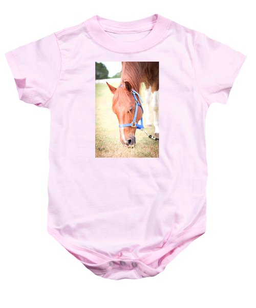 Horse Eating In A Pasture In Vibrant Color Baby Onesie