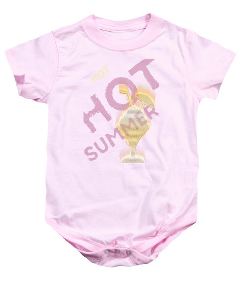 Hot Hot Summer - Burning Ice Cream Bowl - White Baby Onesie