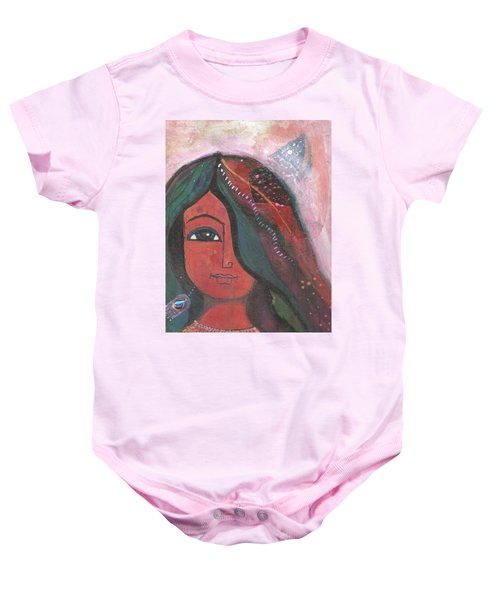 Baby Onesie featuring the mixed media Indian Rajasthani Woman by Prerna Poojara