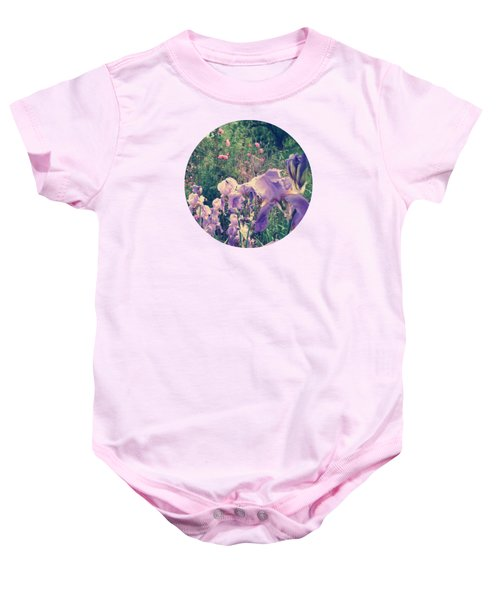 Irises And Roses In The Garden Baby Onesie by Mary Wolf