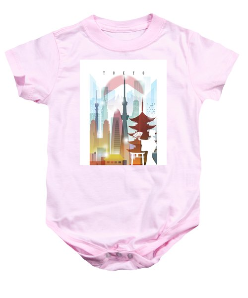 Japan Tokyo 2 Baby Onesie by Unique Drawing