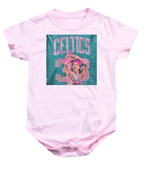Larry Bird Boston Celtics Digital Painting Pink Baby Onesie by David Haskett