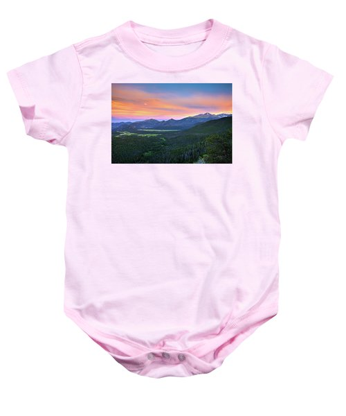 Longs Peak Sunset Baby Onesie by David Chandler