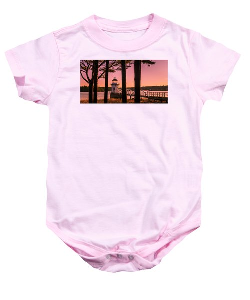 Maine Doubling Point Lighthouse At Sunset Panorama Baby Onesie