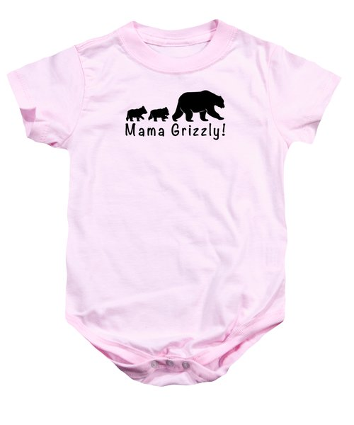 Mama Grizzly And Cubs Baby Onesie by A C