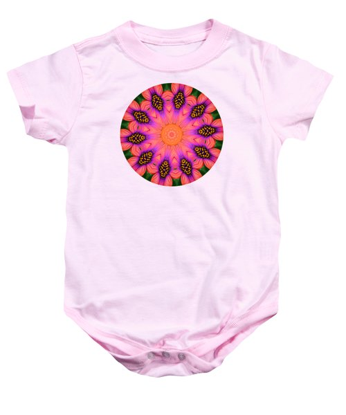 Mandala Salmon Burst - Prints With Salmon Color Background Baby Onesie by Hao Aiken