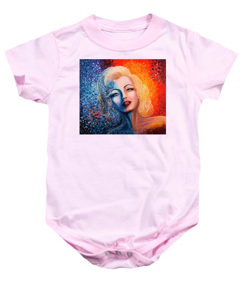 Baby Onesie featuring the painting Marilyn Monroe Original Acrylic Palette Knife Painting by Georgeta Blanaru