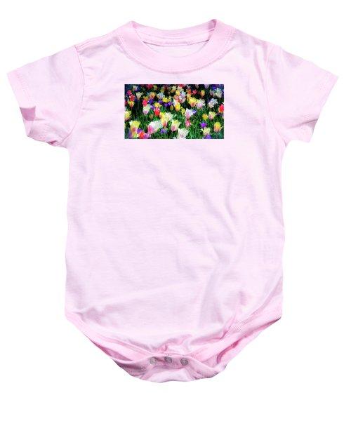 Mixed Tulips In Bloom  Baby Onesie