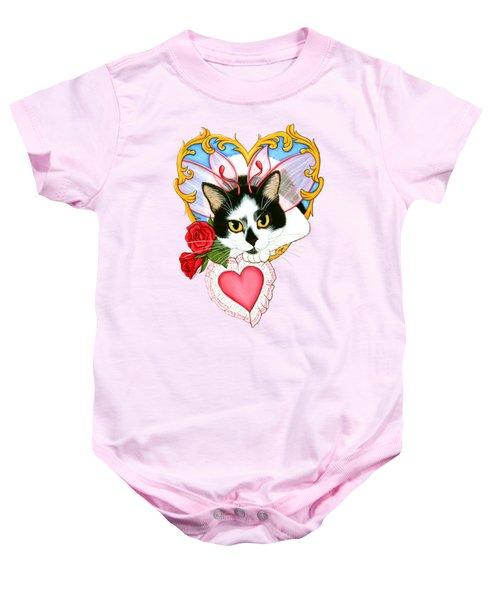 My Feline Valentine Tuxedo Cat Baby Onesie