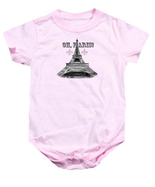 Oh Paris Eiffel Tower Baby Onesie by Irina Sztukowski