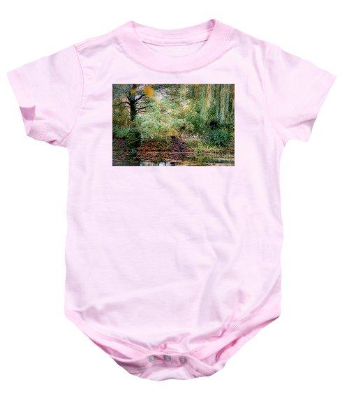 Reflection On, Oscar - Claude Monet's Garden Pond Baby Onesie