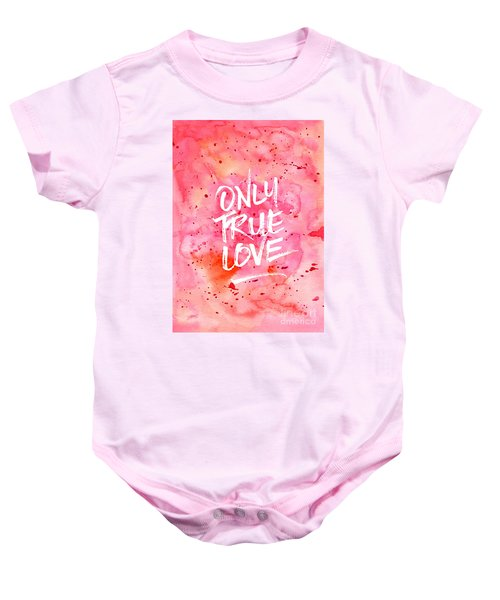 Only True Love Handpainted Abstract Watercolor Red Pink Orange Baby Onesie