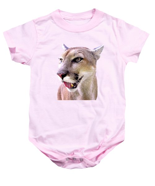 Panther Portrait Transparent Baby Onesie by Sabrina Wheeler