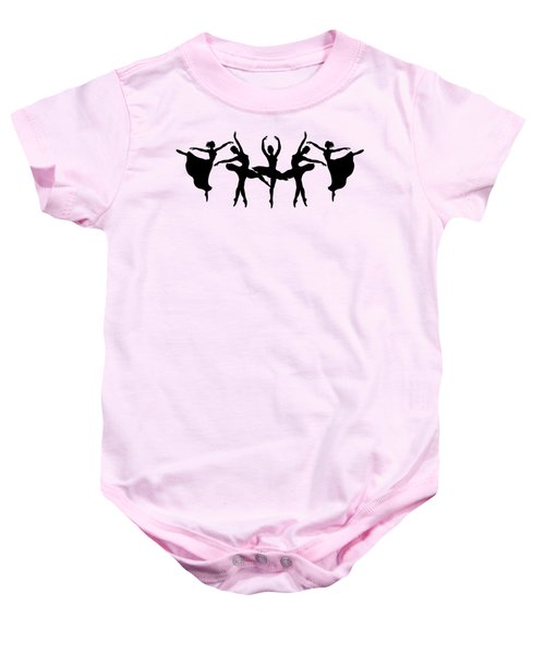 Passionate Dance Ballerina Silhouettes Baby Onesie