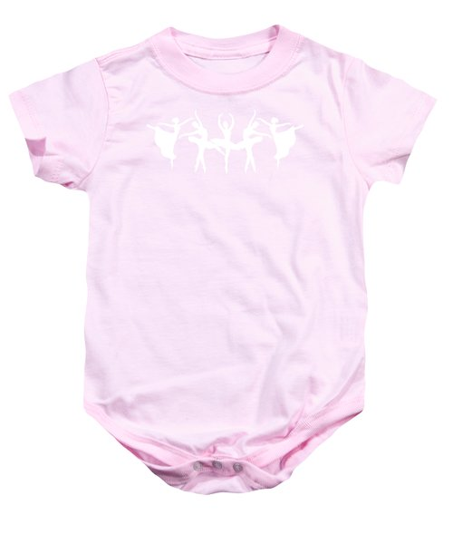 Passionate Dance Ballerinas Silhouettes In White Baby Onesie