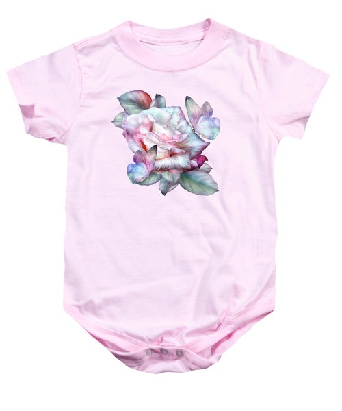 Pastel Rose And Butterflies Baby Onesie