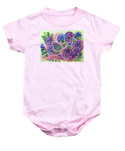 Pink And Blue Flower Flurry Baby Onesie