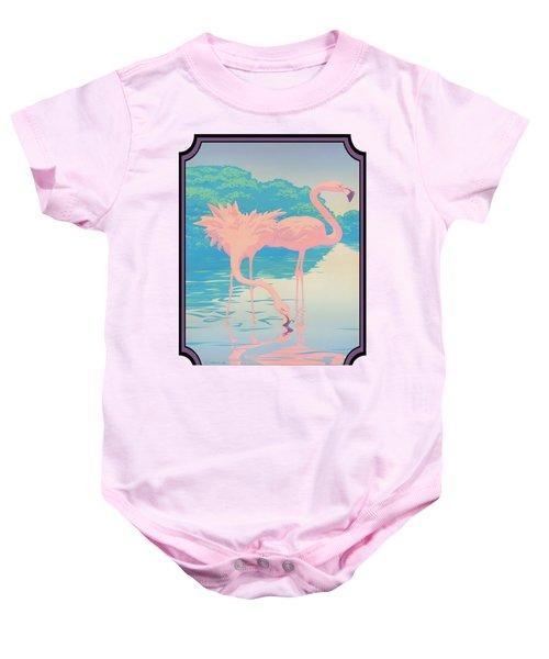 Pink Flamingos Abstract Retro Pop Art Nouveau Tropical Bird Art 80s 1980s Florida Decor Baby Onesie