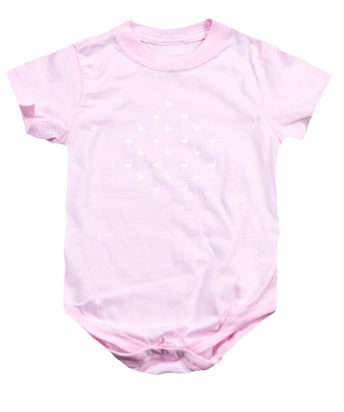 Pink Flamingos Pattern Baby Onesie by Christina Rollo