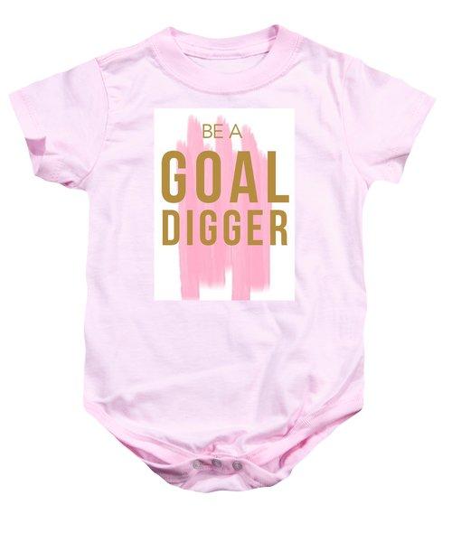 Pink Goal Digger Baby Onesie by Elizabeth Taylor