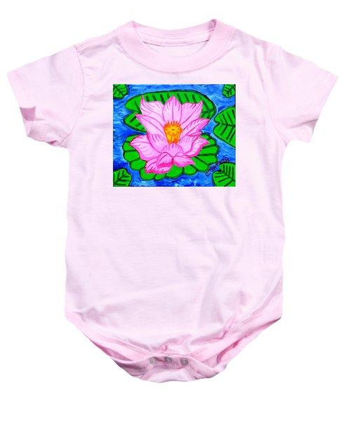 Pink Lotus Flower Baby Onesie
