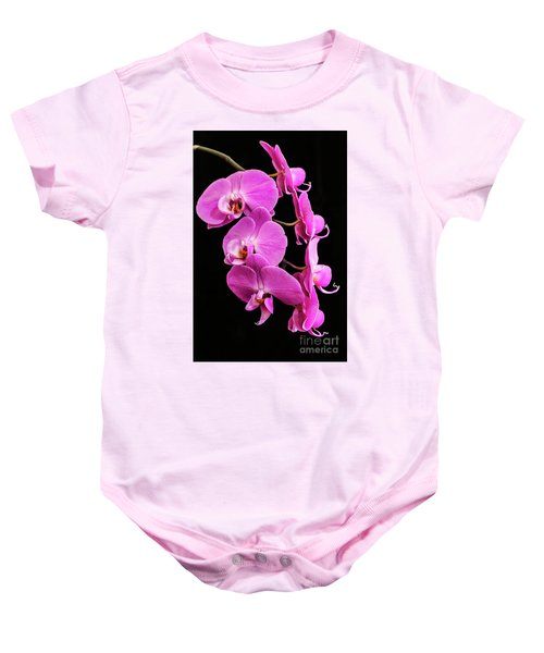 Pink Orchid With Black Background Baby Onesie
