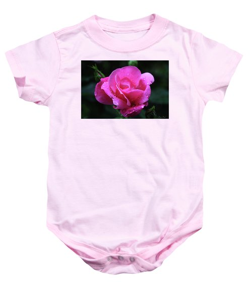Pink Rose With Raindrops Baby Onesie