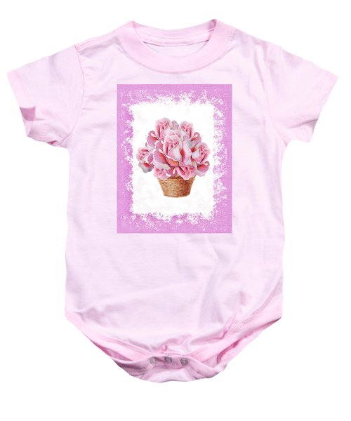 Pink Roses Bouquet In The Basket Baby Onesie