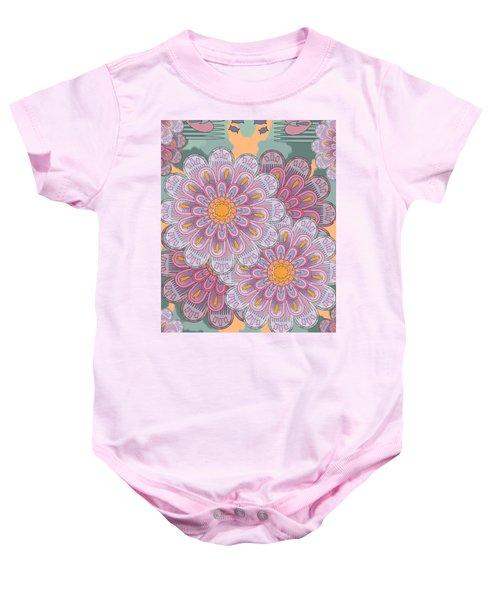 Pink Zinnia Mandala Baby Onesie