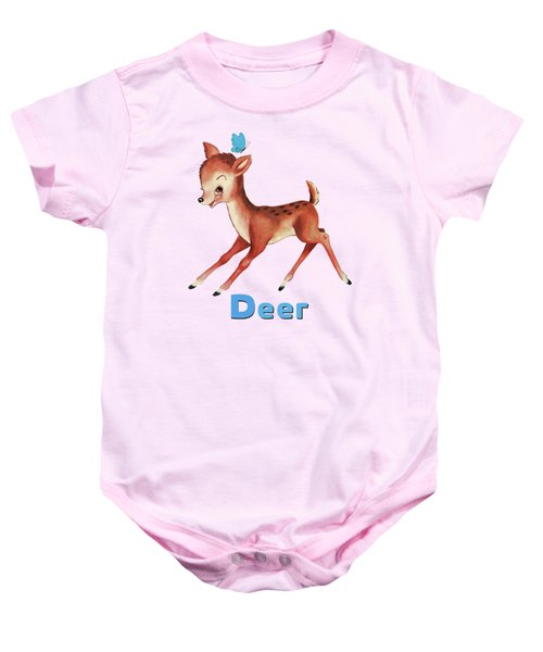 Playful Baby Deer Pattern Baby Onesie