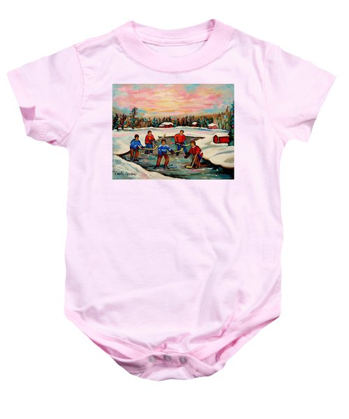Pond Hockey Countryscene Baby Onesie